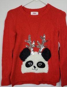 Justice Christmas Knit Top Panda Size 10